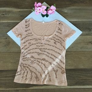 J. Crew Sequin wave peach blouse top Small